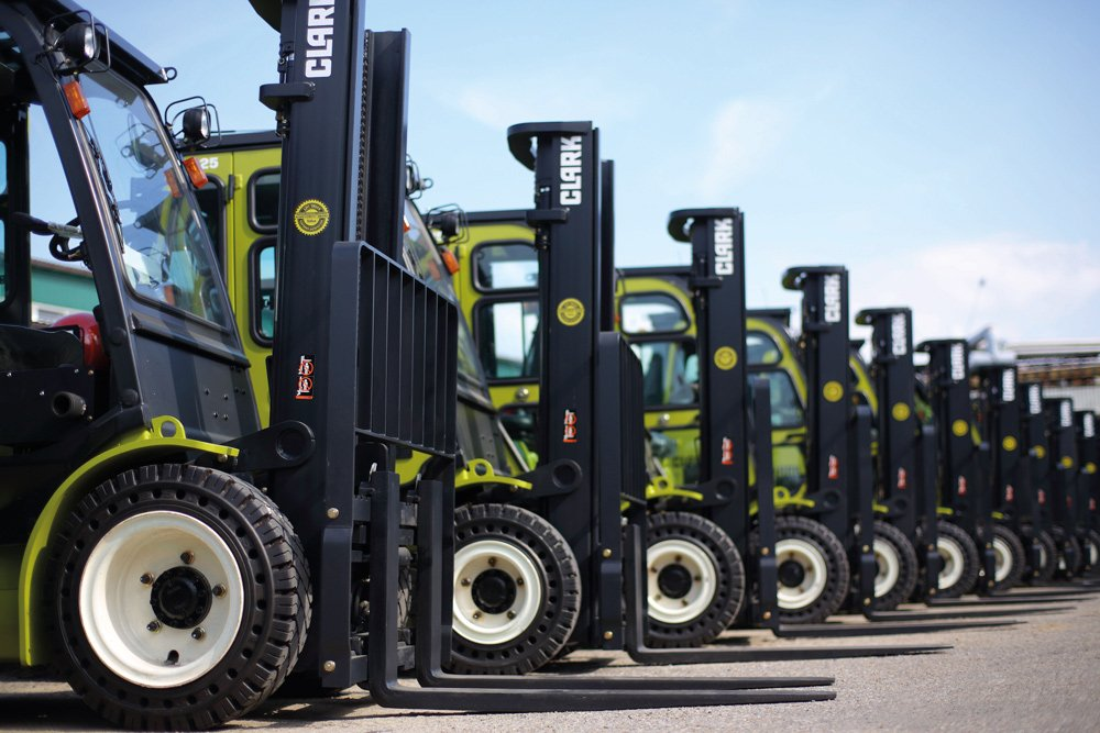 Line of Clark forklifts